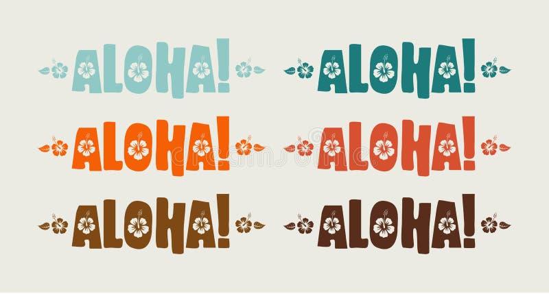 Комплект вектора aloha слова в ретро цветах иллюстрация штока