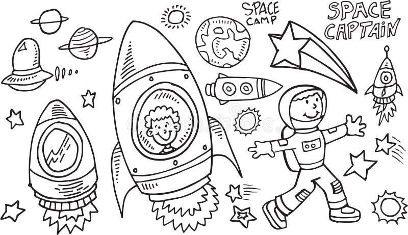 Комплект вектора Doodle космического пространства иллюстрация штока