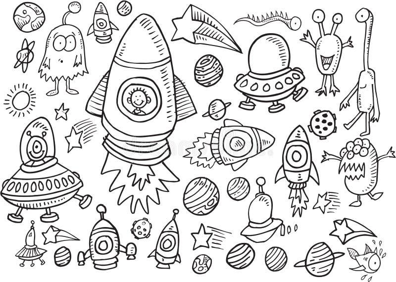 Комплект вектора Doodle космического пространства иллюстрация вектора