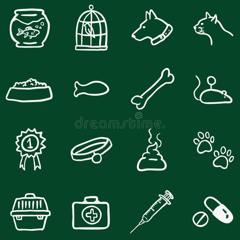 Комплект вектора Doodle мела Pets значки иллюстрация штока
