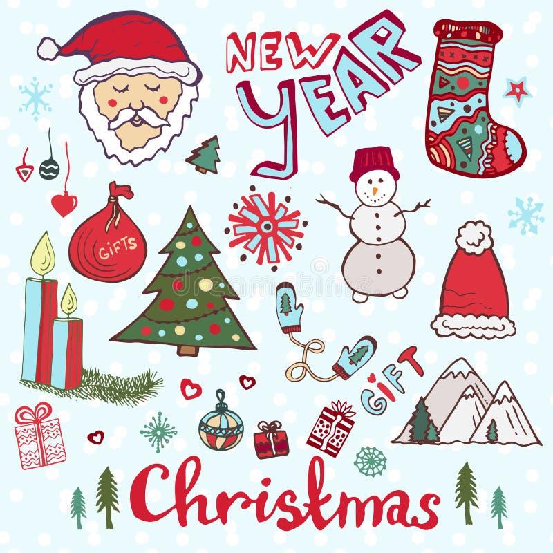 Комплект вектора doodle рождества Новый Год милый иллюстрация штока