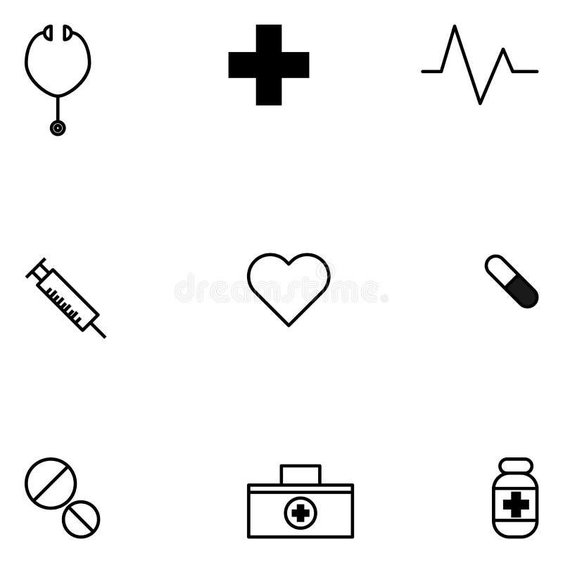 Комплект вектора Eps10 значка стиля здоровья минимальный иллюстрация штока