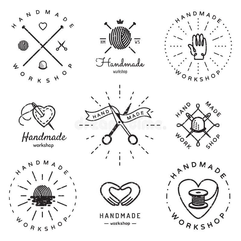 Комплект вектора Handmade логотипа мастерской винтажный Битник и ретро стиль