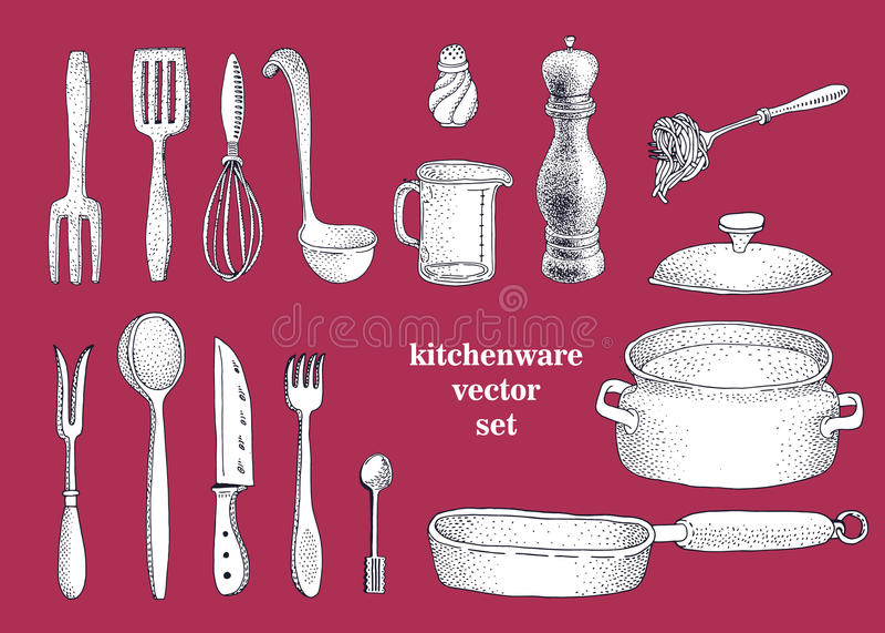 Комплект вектора kitchenware нарисованного рукой иллюстрация штока