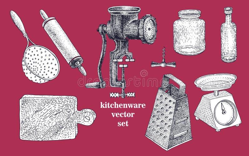 Комплект вектора kitchenware нарисованного рукой бесплатная иллюстрация