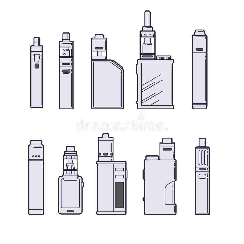 Комплект вектора Vaping План приборов Vape на белой предпосылке иллюстрация штока