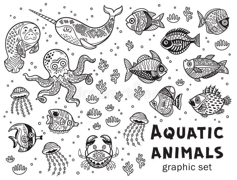 Комплект векторной графики акватических животных иллюстрация штока