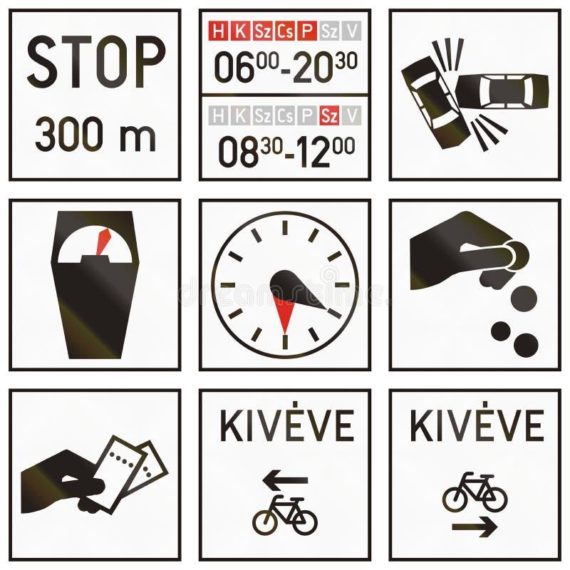 Комплект венгерских дополнительных дорожных знаков иллюстрация вектора