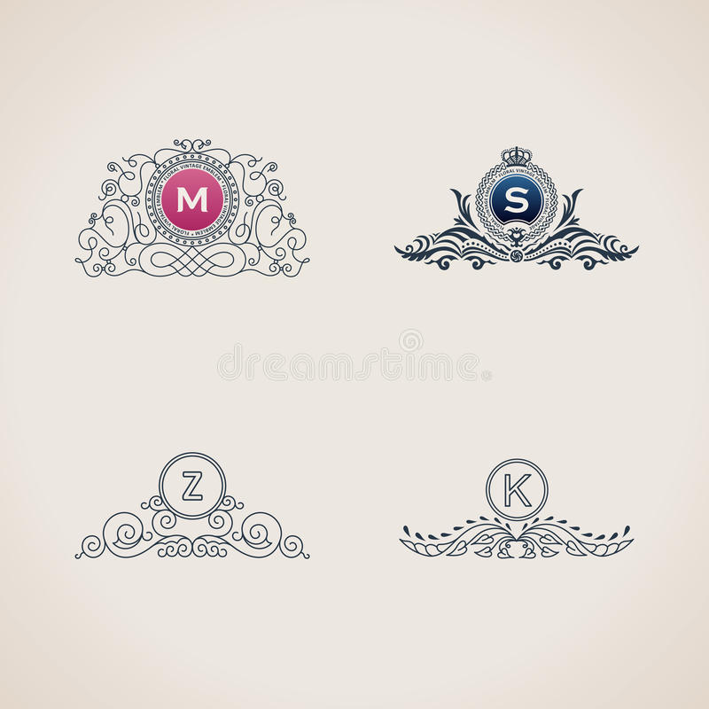 Комплект вензеля каллиграфических эффектных демонстраций роскошный Линия логотип шаблона рамки для элегантной эмблемы бесплатная иллюстрация