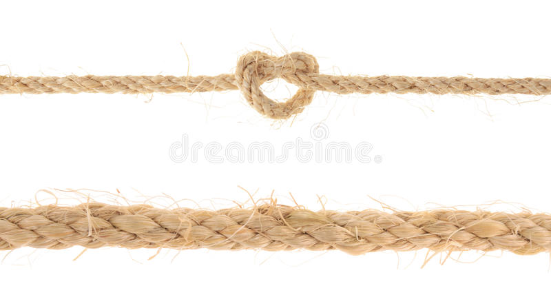 Комплект веревочки джута при узел рифа изолированный на белой предпосылке стоковое фото