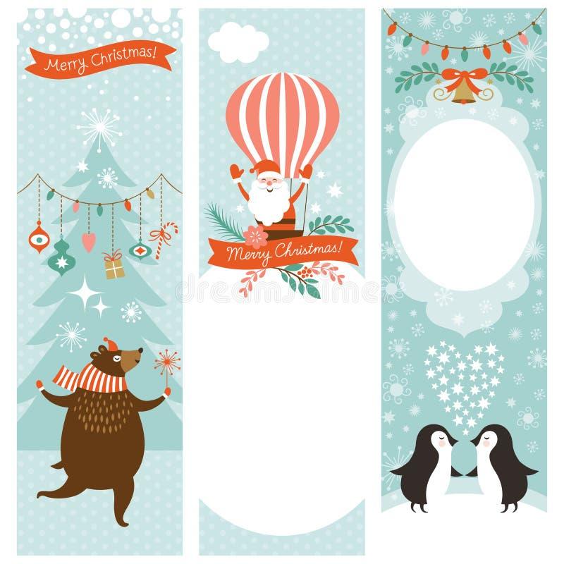 Комплект вертикальных знамен рождества бесплатная иллюстрация
