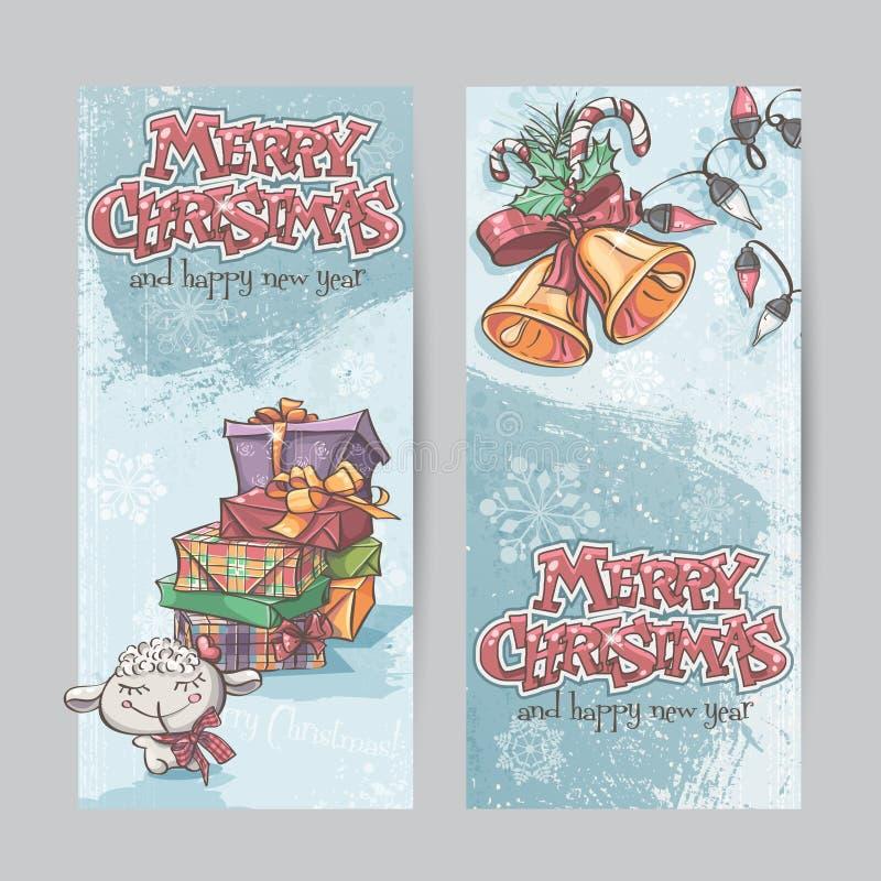 Комплект вертикальных знамен с изображением подарков рождества, гирлянд светов и колоколов рождества иллюстрация штока