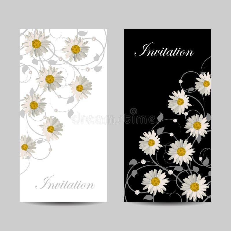 Комплект вертикальных знамен с цветками бесплатная иллюстрация