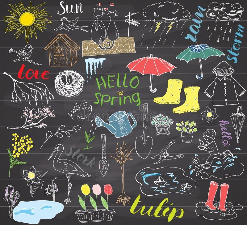 Комплект весеннего сезона doodles элементы Эскиз нарисованный рукой установил с зонтиком, дождем, резиновыми ботинками, плащом, f иллюстрация штока