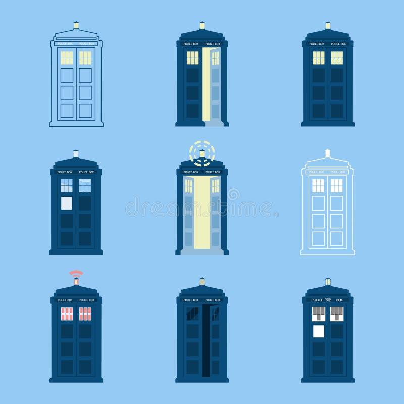 Комплект великобританских значков коробок полиции телефонирует, в Лондоне и Англии для публики звонка бесплатная иллюстрация