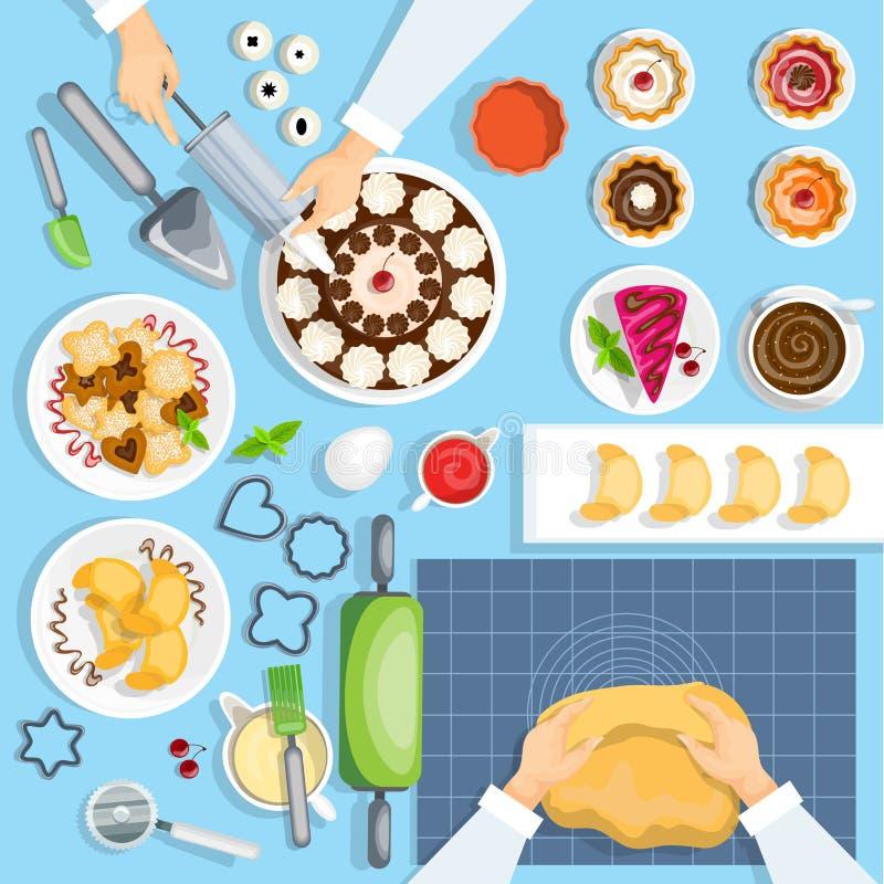 Комплект взгляд сверху рабочего места хлебопека бесплатная иллюстрация