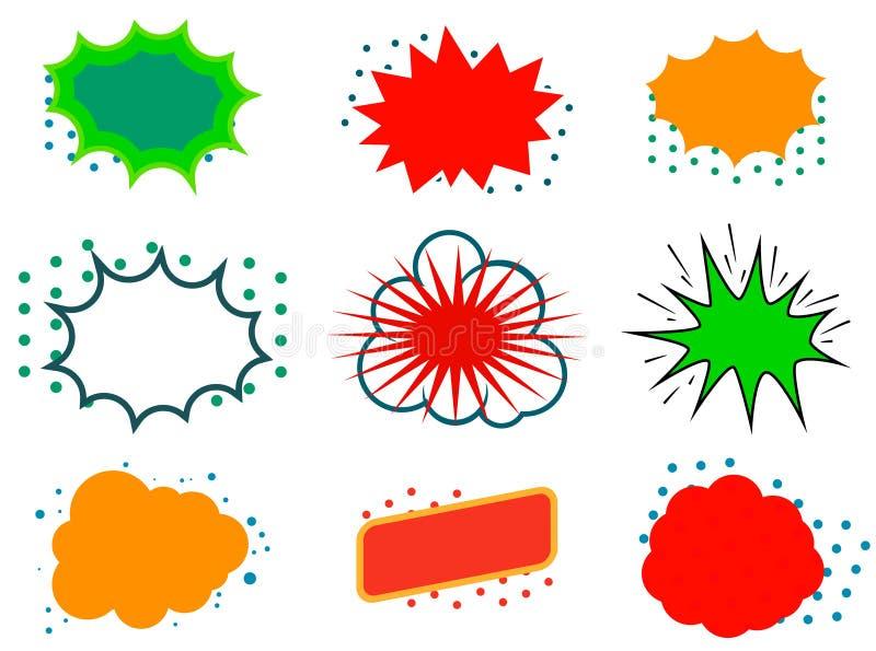 Комплект взрыва комика Ретро пузырь речи искусства шипучки пустой иллюстрация штока
