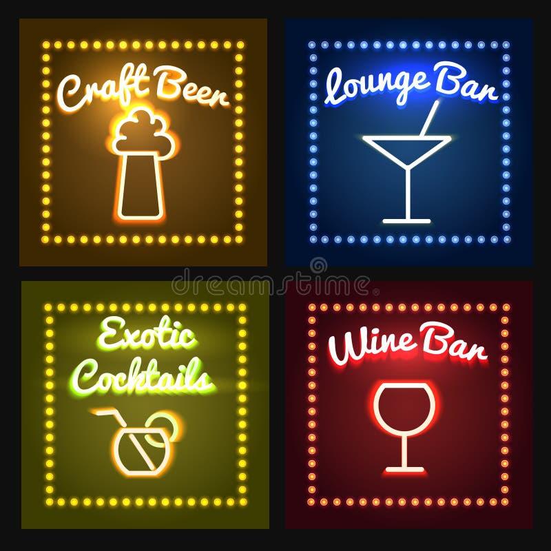 Комплект визирования магазина бара или бочонка неоновый бесплатная иллюстрация