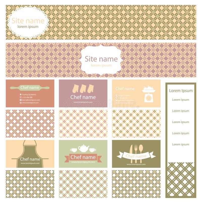 Комплект визитных карточек и заголовка для варить тему иллюстрация штока