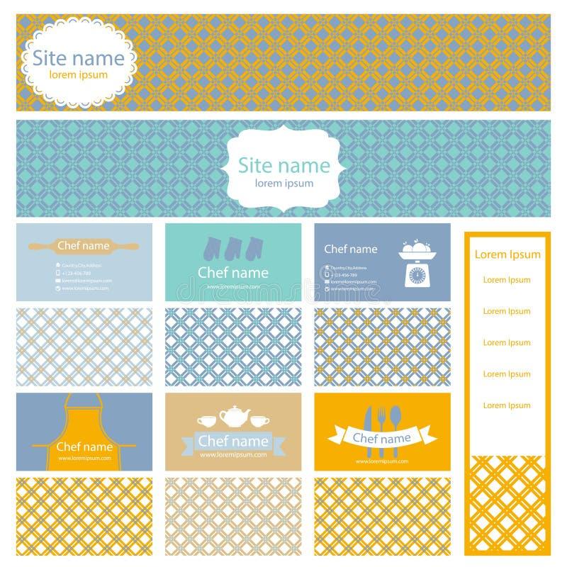 Комплект визитных карточек и заголовка для варить тему Vect иллюстрация штока