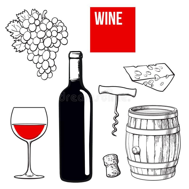 Комплект вина бутылки, стекла, бочонка, виноградин, сыра, пробочки, штопора иллюстрация штока