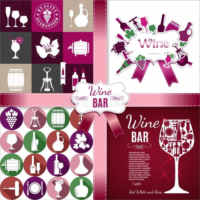Комплект вина плана для меню, ресторана, бара вектор комплекта сердец шаржа приполюсный бесплатная иллюстрация
