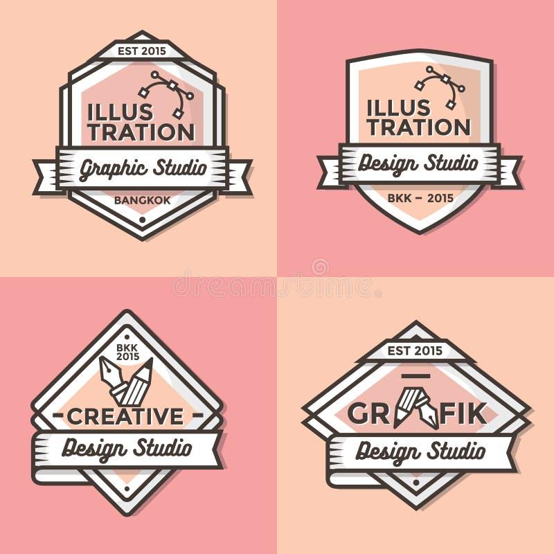 Комплект винтажного вектора шаблона значков, знамен, ярлыка, ленты и логотипов для дела и магазина бесплатная иллюстрация