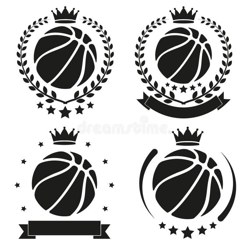 Комплект винтажного значка и ярлыка клуба баскетбола иллюстрация вектора