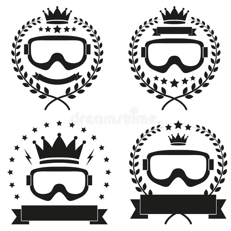 Комплект винтажного значка сноубординга льда или клуба ЛЫЖИ иллюстрация вектора