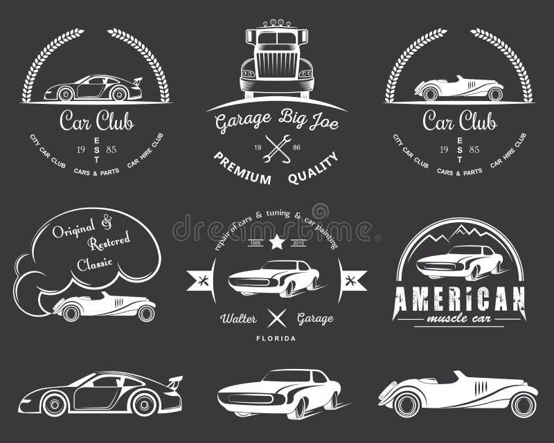 Комплект винтажного клуба автомобиля значков иллюстрация вектора