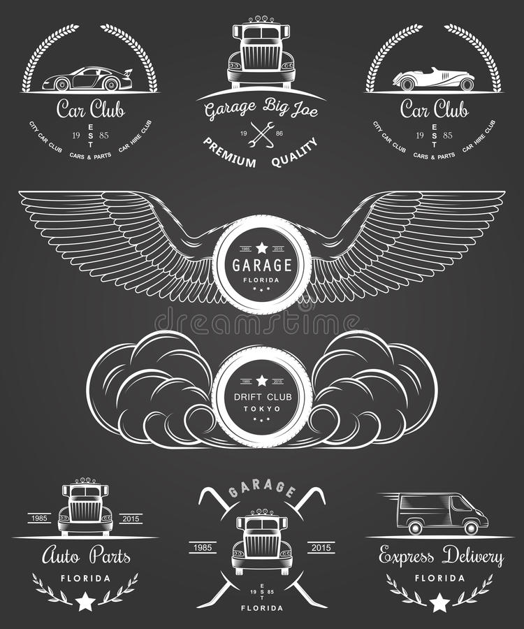 Комплект винтажного клуба и гаража автомобиля значков иллюстрация штока