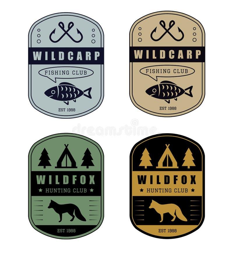 Комплект винтажного логотипа звероловства и рыбной ловли иллюстрация штока