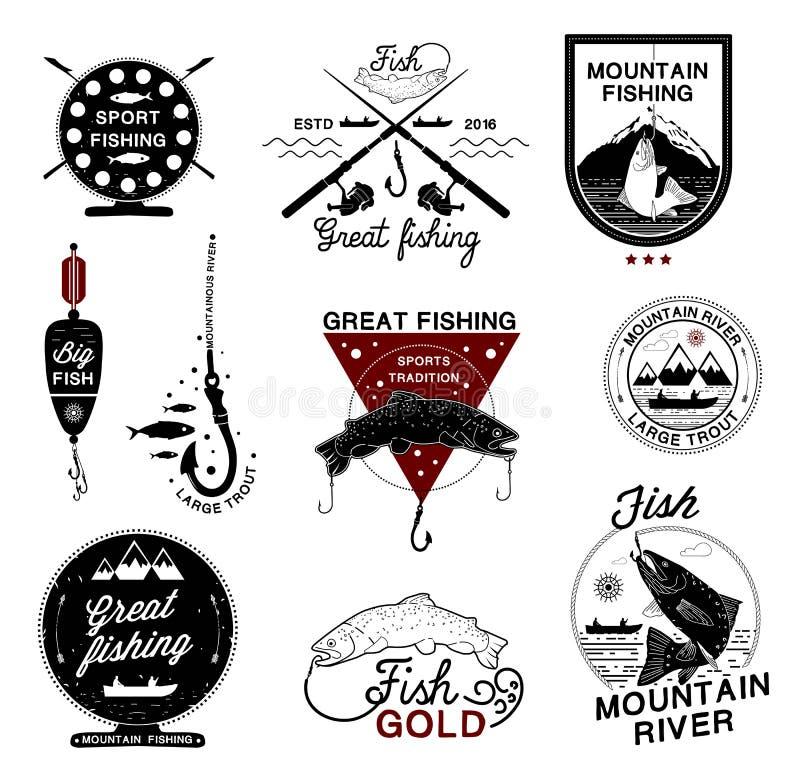 Комплект винтажного логотипа рыбной ловли, ярлыков, эмблем и конструированных элементов бесплатная иллюстрация