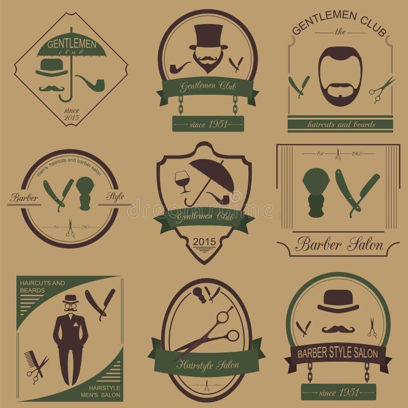 Комплект винтажного парикмахера, стиль причёсок и джентльмен бьют логотипы Vecto иллюстрация вектора