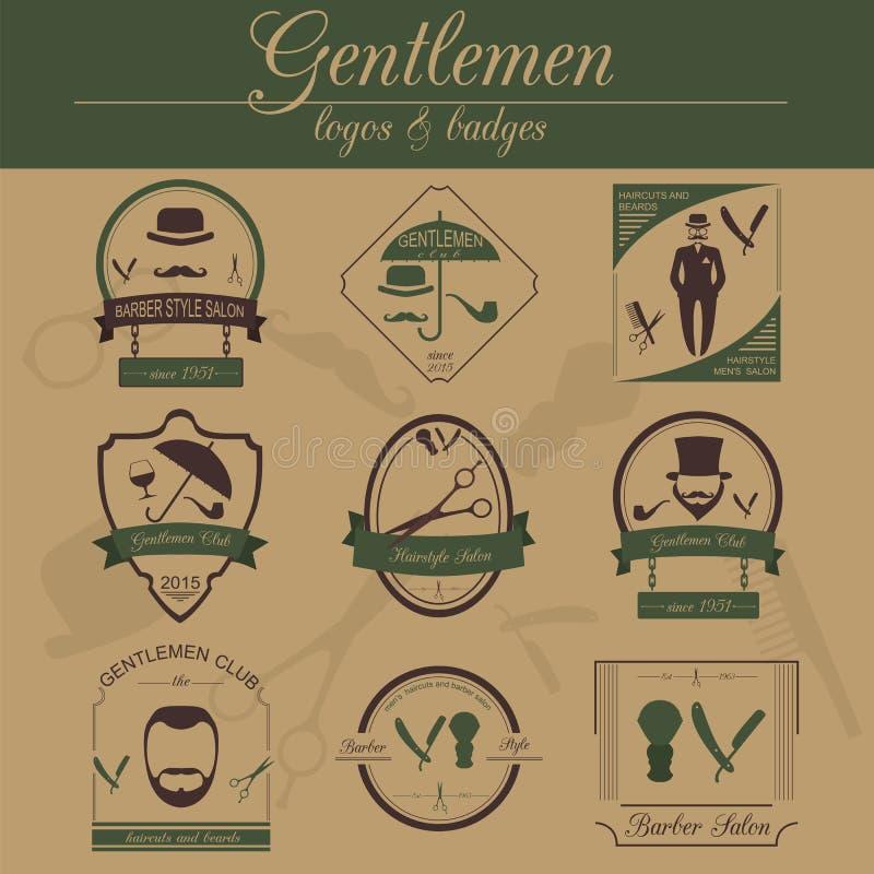 Комплект винтажного парикмахера, стиль причёсок и джентльмен бьют логотипы Vecto иллюстрация штока