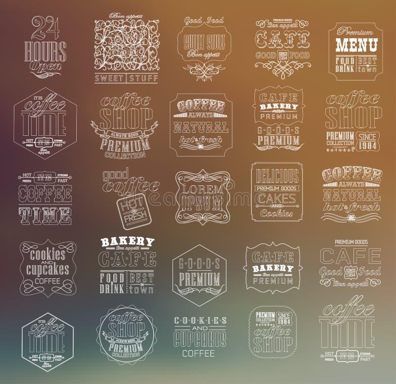 Комплект винтажного ретро кофе бесплатная иллюстрация