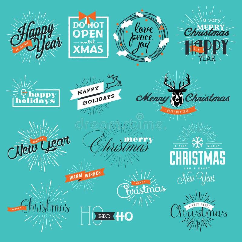 Комплект винтажного рождества и ярлыков и элементов Нового Года иллюстрация вектора