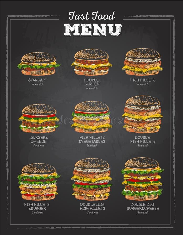 Комплект винтажного сандвича чертежа мела Меню быстро-приготовленное питания иллюстрация штока