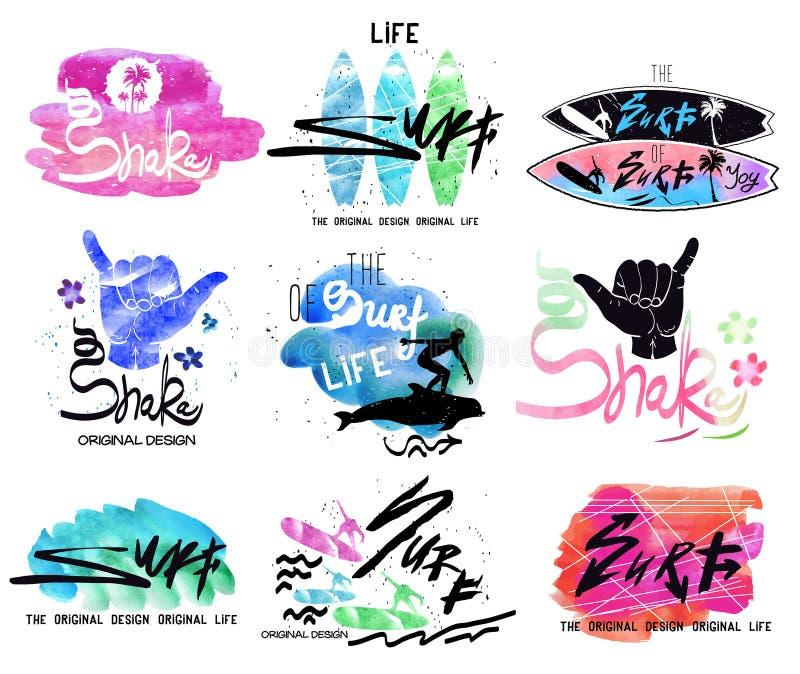 Комплект винтажного серфинга, значков логотипа и элементов дизайна иллюстрация штока