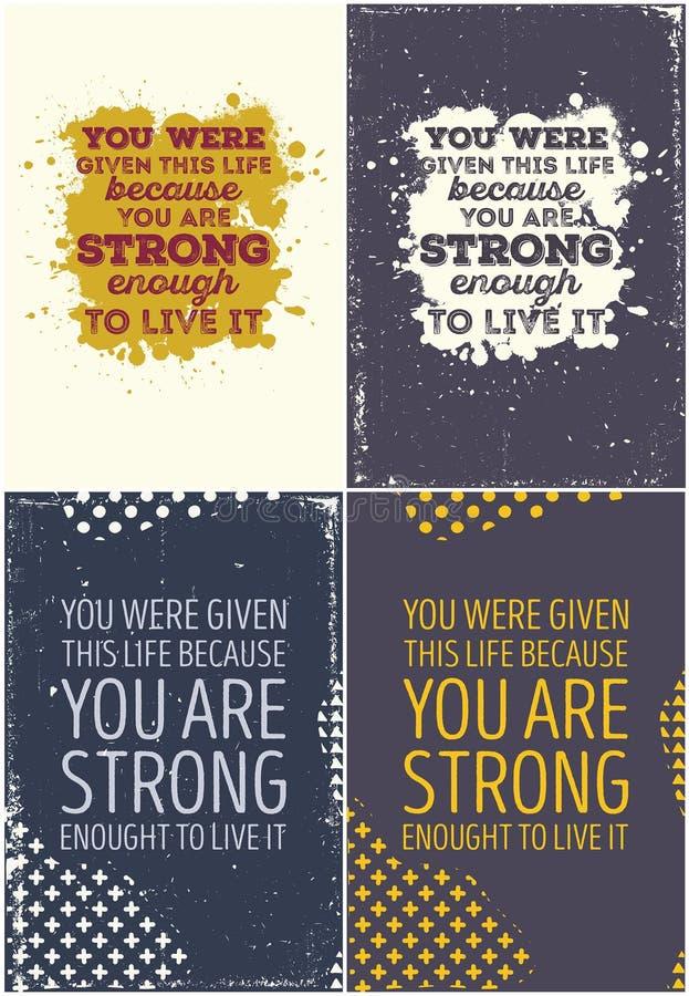 Комплект винтажного типографского плаката Мотивационные цитаты иллюстрация вектора