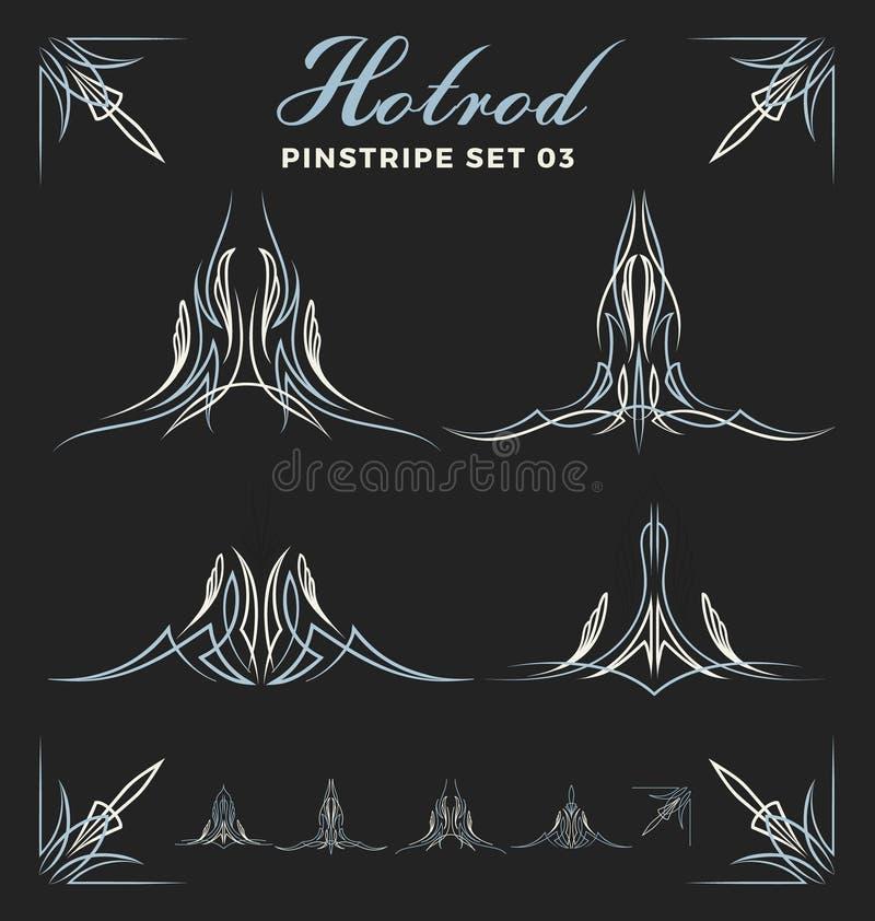 Комплект винтажной линии искусства пинстрайпа иллюстрация штока