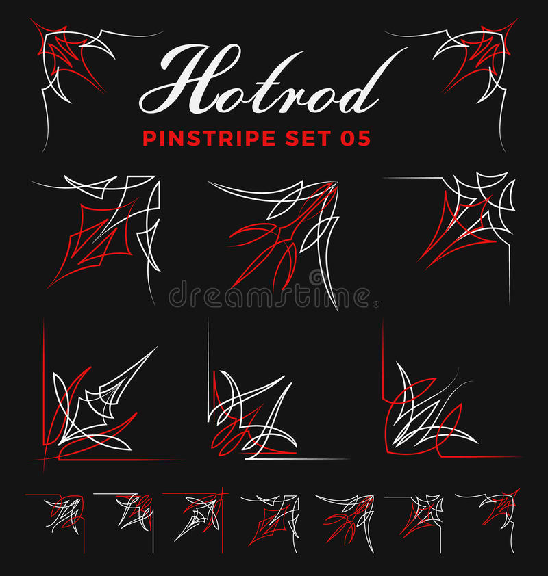 Комплект винтажной линии искусства угла striping штыря бесплатная иллюстрация