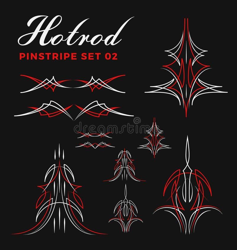 Комплект винтажной линии искусства striping штыря включите ООН-расширьте путь иллюстрация штока