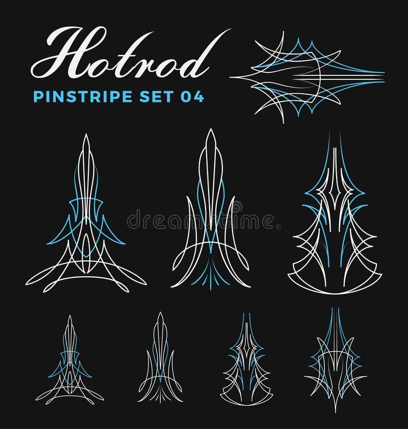 Комплект винтажной линии искусства striping штыря иллюстрация вектора