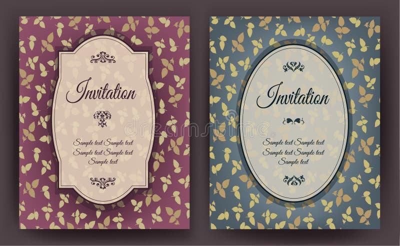 Комплект винтажной карточки приглашения с цветочным узором, можно использовать на детский душ, свадьба, день рождения и другие пр иллюстрация штока