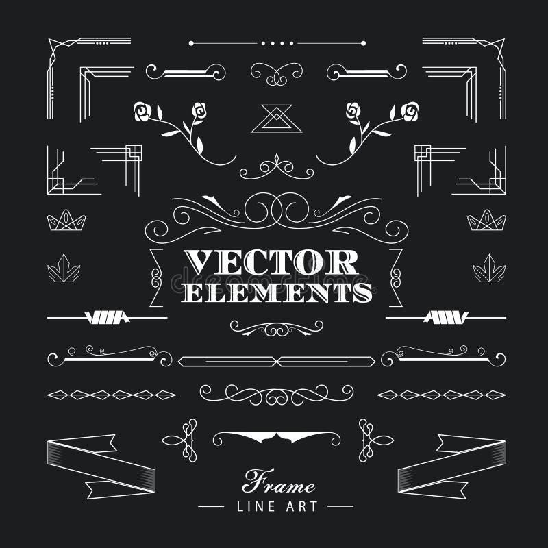 Комплект винтажной ретро линейной тонкой линии элементов g дизайна стиля Арт Деко иллюстрация штока