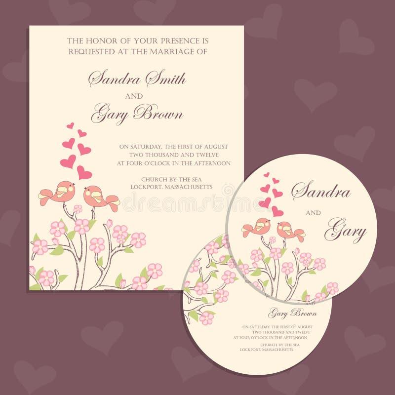 Комплект винтажной флористической карточки приглашения свадьбы иллюстрация вектора