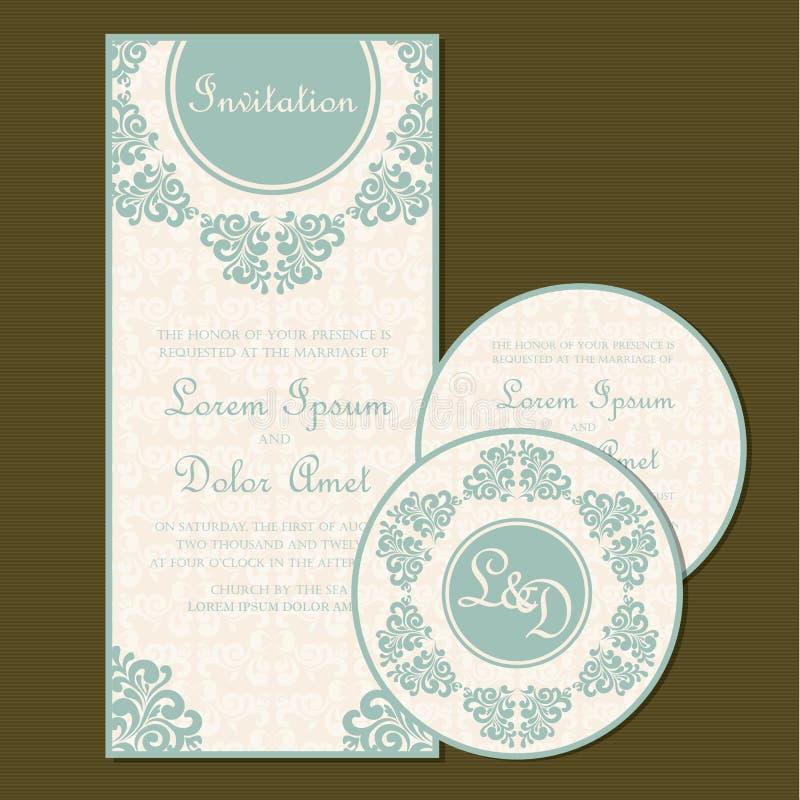 Комплект винтажной флористической карточки приглашения свадьбы иллюстрация штока