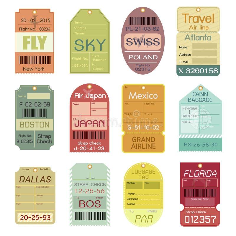 Комплект винтажных бирок багажа бесплатная иллюстрация