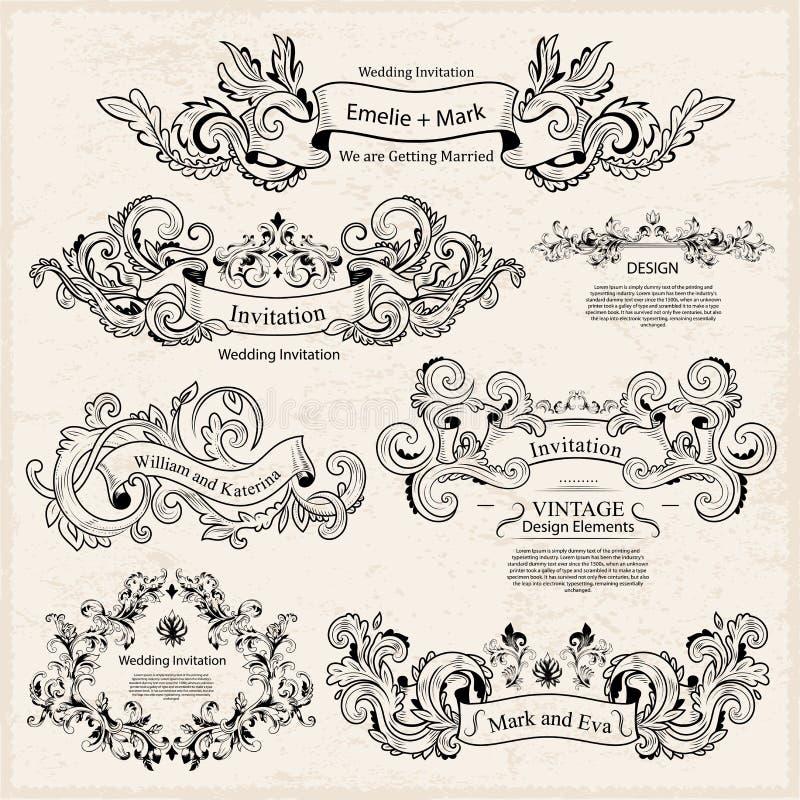 Комплект винтажных викторианских орнаментов Wedding конструкция бесплатная иллюстрация